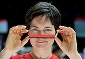 Dame Ellen MacArthur photographed in the Glasgow Science Centre where she hosted the first in a series of 'Project Re-Design' events across the UK run by the Ellen MacArthur Foundation. Picture shows Dame Ellen with a sample of carpet made from recycled materials and is itself 100% recyclable. Teams of students aged 16-18 will be challenged to turn the UK's 'waste to landfill' problem into a potential opportunity by re-thinking the way the system works. One team from Glasgow will win a fully funded internship with one of the founding partners -B&Q, BT & CISCO, National Grid and Renault - Picture by Donald MacLeod - 01.3.11 - 07702 319 738 - www.donald-macleod.com