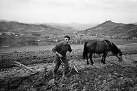 ROMANIA / Maramures / Valeni / April 2003..A spring plowing scene with a view towards Ukraine about 30 kilometers away...© Davin Ellicson / Anzenberger..