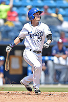 Asheville Tourists left fielder Ryan Stephens (29) swings at a pitch during a game against the Rome Braves on July 26, 2015 in Asheville, North Carolina. The Tourists defeated the Braves 16-4. (Tony Farlow/Four Seam Images)