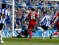 Sheffield Wednesday v Cardiff .Sky Bet Championship ....... Wedsnesdays Gary Hooper opens the scoring