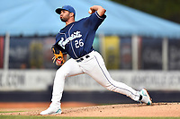 Asheville Tourists starting pitcher Alfredo Garcia (26) delivers a pitch during a game against the Greenville Drive at McCormick Field on May 11, 2019 in Asheville, North Carolina. The Drive defeated the Tourists 9-8. (Tony Farlow/Four Seam Images)