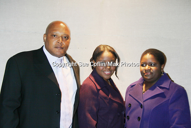 Shenell Edmonds with dad Greg and mom Shermaine - Actors, crew, production, family come to One Life To Live's wrap party and video tribute on November 18, 2011 at Capitale, New York City, New York.  (Photo by Sue Coflin/Max Photos)