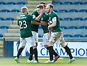 Hib's Fraser Fyvie (centre) is congratulated by Dylan McGeouch, David Gray (2) and Liam Fontaine (5) after he scores their goal.