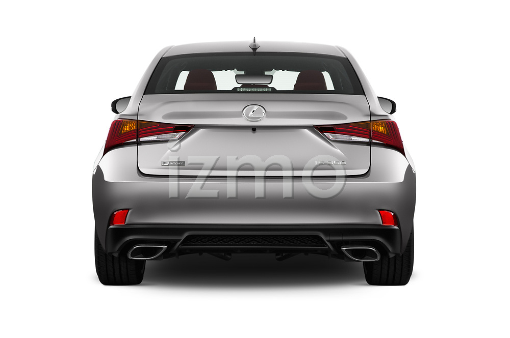 Straight rear view of 2017 Lexus IS 350 4 Door Sedan Rear View  stock images