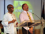 Rev. G. Modele Clarke, and Rabbi Jonathan Kliger, who delivered tributes to each other as the special honorees at Kingston's 2nd Juneteenth Celebration, sponsored by the Kingston Chapter of ENJAN (End the New Jim Crow Action Network) and New Progressive Baptist Church, and held at the church in Kingston on Saturday, June 14, 2014. Photo by Jim Peppler. Copyright Jim Peppler 2014 all rights reserved.