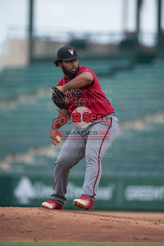 AZL Diamondbacks relief pitcher Mailon Arroyo (37) delivers a pitch during the completion of a suspended Arizona League game against the AZL Angels at Tempe Diablo Stadium on July 16, 2018 in Tempe, Arizona. The game was a continuation of the July 11, 2018 contest that was suspended by rain in the middle of the eighth inning. The AZL Diamondbacks defeated the AZL Angels 12-8. (Zachary Lucy/Four Seam Images)
