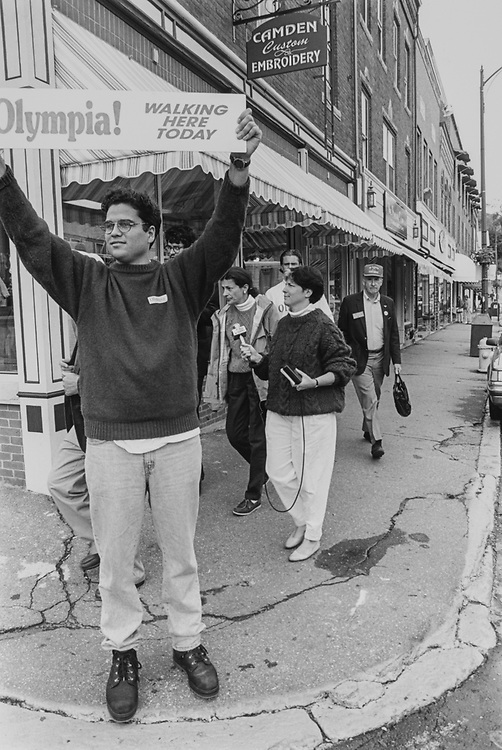 Doug Marcano (field coordinator in Camden area) holds sign as Rep. Olympia Snowe makes her campaigning stops in Camden, Maine on main street in Sep. 1994. (Photo by Maureen Keating/CQ Roll Call via Getty Images)