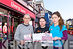 Pat Horgan, Jamie O'Sullivan and Danielle McLoughlin who are asking people to sign their petition to save their jobs in Elvery's Sports Killarney