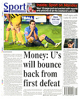 Back page image covering Southport FC v Cambridge United in the 'Cambridge News', 04/11/13.