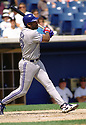 CIRCA 1997: Joe Carter #29 of the Toronto Blue Jays at bat during a game from his 1997 season with the Toronto Blue Jays. Joe Carter played for 16 years, with 6 different team and was a 5-time All-Star.(Photo by: 1997 SportPics)  *** Local Caption *** Joe Carter