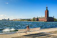 Stockholms stadshus med vågor på Riddarjärden