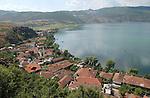 Lin-Pogradec-Albania - August 02, 2004---Partial view of the village of Lin, with its mosque, at Lake Ohrid; region/village of project implementation by GTZ-Wiram-Albania (German Technical Cooperation, Deutsche Gesellschaft fuer Technische Zusammenarbeit (GTZ) GmbH); landscape---Photo: © HorstWagner.eu