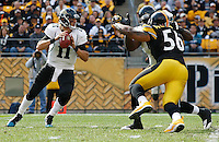 PITTSBURGH, PA - OCTOBER 16:  Blaine Gabbert #11 of the Jacksonville Jaguars drops back to pass in front of LaMarr Woodley #56 of the Pittsburgh Steelers during the game on October 16, 2011 at Heinz Field in Pittsburgh, Pennsylvania.  (Photo by Jared Wickerham/Getty Images)