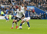 Cardiff City's Lee Tomlin battles with Swansea City's Connor Roberts<br /> <br /> Photographer Ian Cook/CameraSport<br /> <br /> The EFL Sky Bet Championship - Cardiff City v Swansea City - Sunday 12th January 2020 - Cardiff City Stadium - Cardiff<br /> <br /> World Copyright © 2020 CameraSport. All rights reserved. 43 Linden Ave. Countesthorpe. Leicester. England. LE8 5PG - Tel: +44 (0) 116 277 4147 - admin@camerasport.com - www.camerasport.com