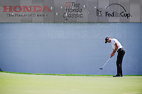 Cameron Tringale (USA) watches his putt on 16 during round 1 of the Honda Classic, PGA National, Palm Beach Gardens, West Palm Beach, Florida, USA. 2/23/2017.<br /> Picture: Golffile | Ken Murray<br /> <br /> <br /> All photo usage must carry mandatory copyright credit (&copy; Golffile | Ken Murray)