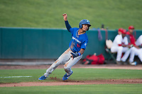 Ogden Raptors second baseman Jeremy Arocho (8) holds at third base during a Pioneer League game against the Orem Owlz at Home of the OWLZ on August 24, 2018 in Orem, Utah. The Ogden Raptors defeated the Orem Owlz by a score of 13-5. (Zachary Lucy/Four Seam Images)