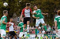 LEER - Voetbal , Werder Bremen - FC Emmen, oefenduel, seizoen 2018--2019, 04-09-2018, kopduel met FC Emmen speler Reuven Niemeijer