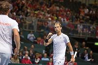 Switserland, Genève, September 19, 2015, Tennis,   Davis Cup, Switserland-Netherlands, Doubles: Dutch team Matwe Middelkoop/Thiemo de Bakker (R)  photo1<br /> Photo: Tennisimages/Henk Koster