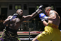 Andre Sterling (camouflage shorts) defeats Justin Johnson during a Boxing Show at York Hall on 10th February 2018