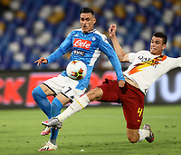 5th July 2020; Stadio San Paolo, Naples, Campania, Italy; Serie A Football, Napoli versus Roma; Jose Maria Callejon of Napoli shoots and scores for 1-0 in the 55th minute as Ibanez of Roma tries to block