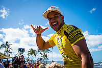 North Shore, Oahu, Hawaii (Sunday, November 24, 2013) &ndash;  HALEIWA, Oahu, Hawaii  - It has been five years since Tahiti&rsquo;s Michel Bourez scored the first major victory of his career here at the REEF Hawaiian Pro, and today he backed it up with by winning the 2013 event.  Despite unusually small surf for Hawaii at this time of year, Bourez has put on an amazing performance though out the event and capped it off with the win today defeating local hero Fred Patacchia (HAW) in 2nd, Jeremy Flores (FRA) in 3rd and Dion Atkinson (AUS) in 4th. Bourez now takes the lead in the Triple Crown of Surfing. <br /> The Reef Hawaiian Pro was the first of three events of the Vans Triple Crown of Surfing The REEF Hawaiian Pro is Event #1 in the running of the 31st Annual VANS TRIPLE CROWN OF SURFING   where 128 of the world's best surfers competed for critical ASP Prime points and a share of $250,000 prize money. Bourez took home $40,000 and an early lead on the 2013 Vans Triple Crown series ratings.  Photo: joliphotos.com