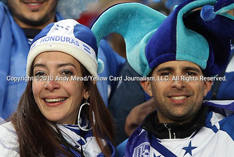 21 JUN 2010:  Honduras fans in the stands.  The Spain National Team played the Honduras National Team at Ellis Park Stadium in Johannesburg, South Africa in a 2010 FIFA World Cup Group C match.
