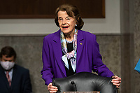"""United States Senator Dianne Feinstein (Democrat of California), Ranking Member, US Senate Judiciary Committee prepares to hear testimony from former deputy attorney general Rod Rosenstein on """"Crossfire Hurricane,"""" the FBI's probe into Russian election interference and the 2016 Trump campaign in the Dirksen Senate Office Building in Washington, DC, USA, 03 June 2020.<br /> Credit: Jim LoScalzo / Pool via CNP/AdMedia"""