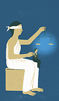 Lady Justice holding scales with small man sitting on her knees ExclusiveImage