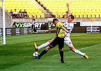 Michael McGlinchey shoots for goal during the A-League football match between Wellington Phoenix and Sydney Wanderers at Westpac Stadium in Wellington, New Zealand on Saturday, 13 January 2018. Photo: Mike Moran / lintottphoto.co.nz