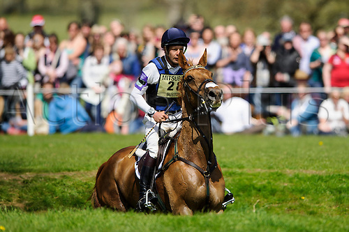 05.05.2013 Badminton, England. Christopher Burton (AUS) on Holstein Park Leilani in action at the Swindon Designer Outlet Sunken Lane during the Cross Country Test of the Mitsubishi Motors Badminton Horse Trials 2013 in the grounds of Badminton House.