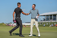 Henrik Stenson (SWE) shakes hands with Nicholas Lindheim (USA) following round 4 of the AT&T Byron Nelson, Trinity Forest Golf Club, Dallas, Texas, USA. 5/12/2019.<br /> Picture: Golffile   Ken Murray<br /> <br /> <br /> All photo usage must carry mandatory copyright credit (© Golffile   Ken Murray)