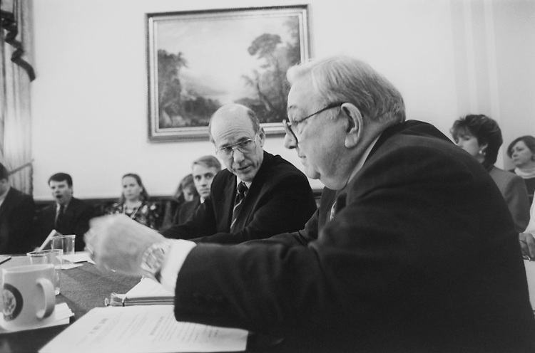 Agricultural Committee Members Rep. George Edward Brown, D-Calif., House of Representatives Member, sitting in for D I Tarza and Sen. Pat Roberts, R-KS., House of Representatives Member, before House Administration Subcommittee on account refunding resolutions. Febuary 22, 1994 (Photo by Maureen Keating/CQ Roll Call)