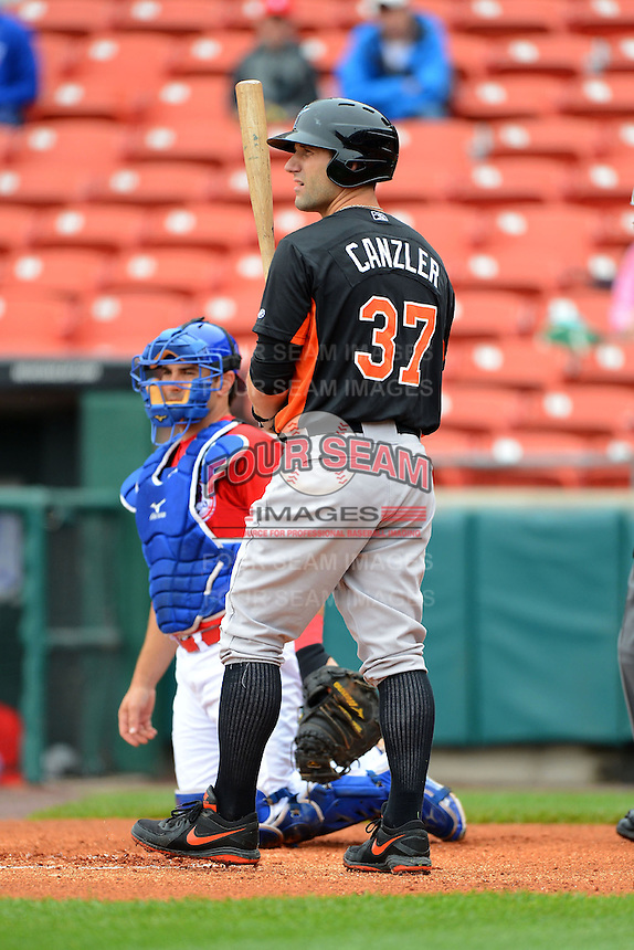 Norfolk Tides outfielder Russ Canzler #37 during a game against the Buffalo Bisons on May 9, 2013 at Coca-Cola Field in Buffalo, New York.  Norfolk defeated Buffalo 7-1.  (Mike Janes/Four Seam Images)