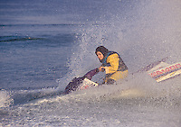 © Caroline Penn / Panos Pictures..Iranian women in sport..Kish Island, Iran. October 1999...Fully clothed woman jetskiing off the holiday island of Kish in the Persian Gulf.