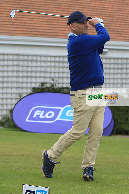 Gary Murphy (Flogas Ambassador and former European Tour player) on the 1st tee during the Flogas Irish Amateur Open Championship Am-Am at Royal Dublin on Monday 9th May 2016.<br /> Picture:  Thos Caffrey / www.golffile.ie