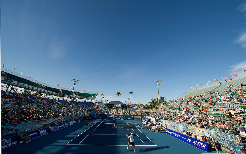 A view of the stadium during the match between Kevin Anderson (RSA) and Marinko Matosevic (AUS)  in their Final match today - Kevin Anderson (RSA) def Marinko Matosevic (AUS) 7-5 7-6(4)..ATP 250 Tennis - 2012 Delray Beach International Tennis Championships - Day 7 - Sunday 04 March 2012 - Delray Beach Stadium & Tennis Center - Delray Beach - Florida - USA..