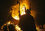 Up Helly Aa. Lerwick Sheltand. Scotland. Fire festival burning Viking Long Boat. <br />