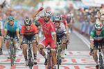 Nacer Bouhanni (FRA) Cofidis wins the sprint for Stage 6 of the La Vuelta 2018, running 150.7km from Hu&eacute;rcal-Overa to San Javier, Mar Menor, Sierra de la Alfaguara, Andalucia, Spain. 30th August 2018.<br /> Picture: Colin Flockton | Cyclefile<br /> <br /> <br /> All photos usage must carry mandatory copyright credit (&copy; Cyclefile | Colin Flockton)