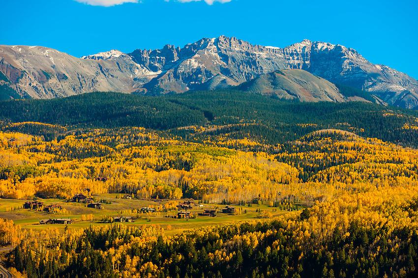 Fall color, San Juan Mountains, near Telluride, Colorado USA.
