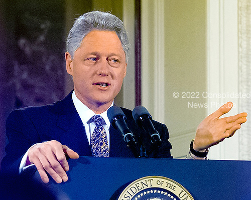United States President Bill Clinton holds a press conference in the East Room of the White House in Washington, D.C. on  February 16, 2000..Credit: Ron Sachs / CNP
