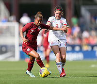 FRISCO, TX - MARCH 11: Nikita Parris #7 of England and Maria Caldentey #8 of Spain battle for control of the ball during a game between England and Spain at Toyota Stadium on March 11, 2020 in Frisco, Texas.