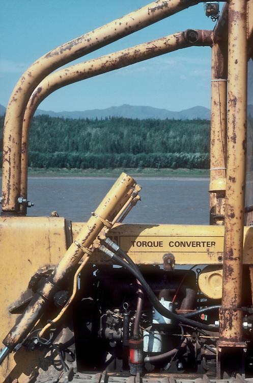 Alaska, Tanana River, old Caterpillar tractor frames Alaska Arctic wilderness,  summer,