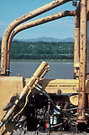 Alaska, Tanana River, old Caterpillar tractor frames Alaska Arctic wilderness,  summer,