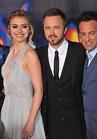 Aaron Paul, Imogen Poots &amp; director Scott Waugh (right) at the U.S. premiere of their movie &quot;Need for Speed&quot; at the TCL Chinese Theatre, Hollywood.<br /> March 6, 2014  Los Angeles, CA<br /> Picture: Paul Smith / Featureflash