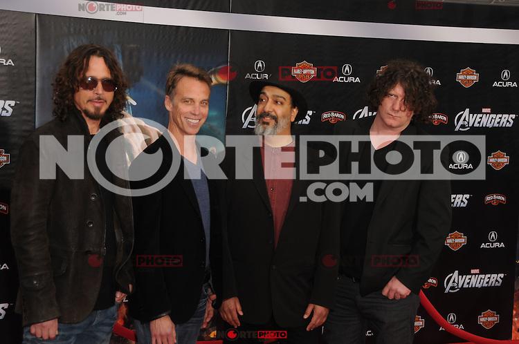 """Soundgarden Asiste al estreno mundial de """"The Avengers"""", celebrado en el Teatro El Capitan en Hollywood, California el 11 de abril, 2012.<br /> (Foto:©mpi35/MediaPunch/NortePhoto.com*)<br /> **SOLO*VENTA*EN*MEXiCO**"""