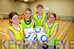 Having fun at the multi-sports camp in Moyvane last week from l-r were: Aoife Stack, Sean Stackpoole, Lisa Stackpoole and Kayla Hannon.