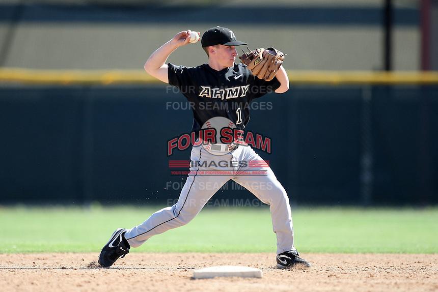 March 13, 2010:  Second Baseman Zach Price of Army vs. Long Island University Blackbirds in a game at Henley Field in Lakeland, FL.  Photo By Mike Janes/Four Seam Images