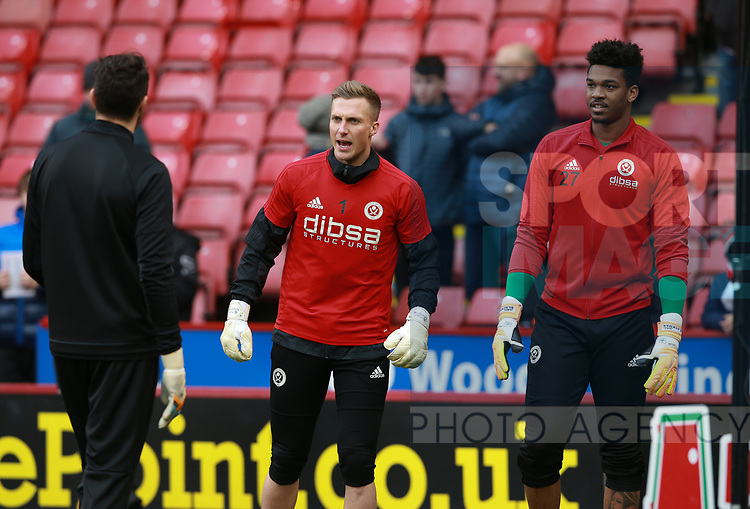 Simon Moore of Sheffield Utd and Jamal Blackman of Sheffield Utd warm up during the Championship match at Bramall Lane Stadium, Sheffield. Picture date 30th December 2017. Picture credit should read: Simon Bellis/Sportimage