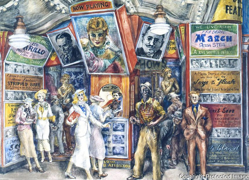 American Painters:  Reginald Marsh--Twenty Cent  Movie, 1936. Egg tempera/composition board.  Whitney Museum of American Art.