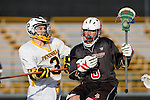 Palos Verdes, CA 03/30/10 - Scott MacDonald (Palos Verdes #6) and Clay Benjamin (Peninsula #3) in action during the Palos Verdes-Peninsula JV Boys Lacrosse game.